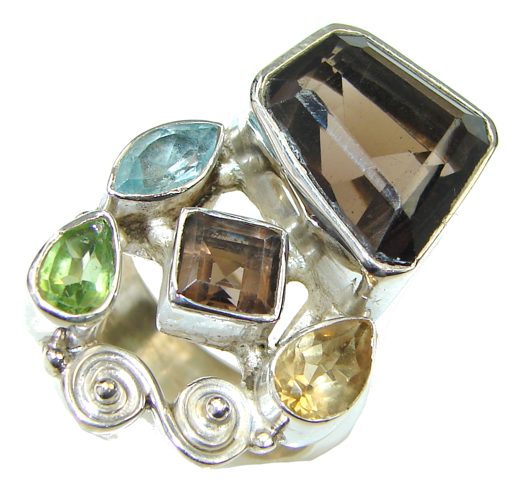 Grounding Stone! Brown Smoky Topaz Sterling Silver ring s. 8
