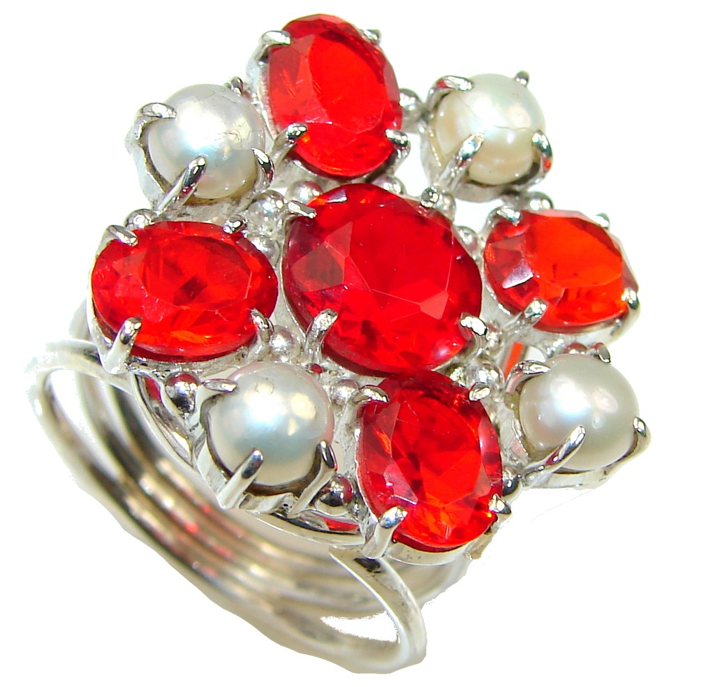 Amazing! Created Garnet & Fresh Water Pearl Sterling Silver ring s. 10 1/4