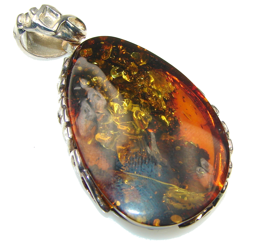 Exclusive! Baltic Polish Amber Sterling Silver pendant