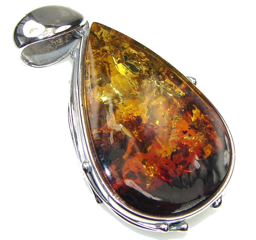 Awesome! Baltic Polish Amber Sterling Silver pendant