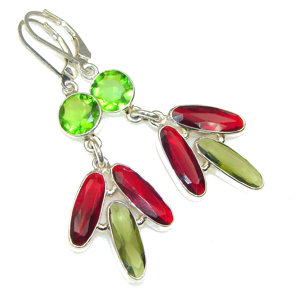 Green Island! Created Green Peridot, Garnet Quartz Sterling Silver earrings
