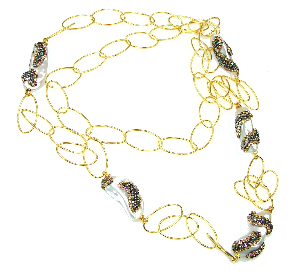 Beautiful Design! Mother Of Pearl & Marcasite & Citrine Sterling Silver Necklace