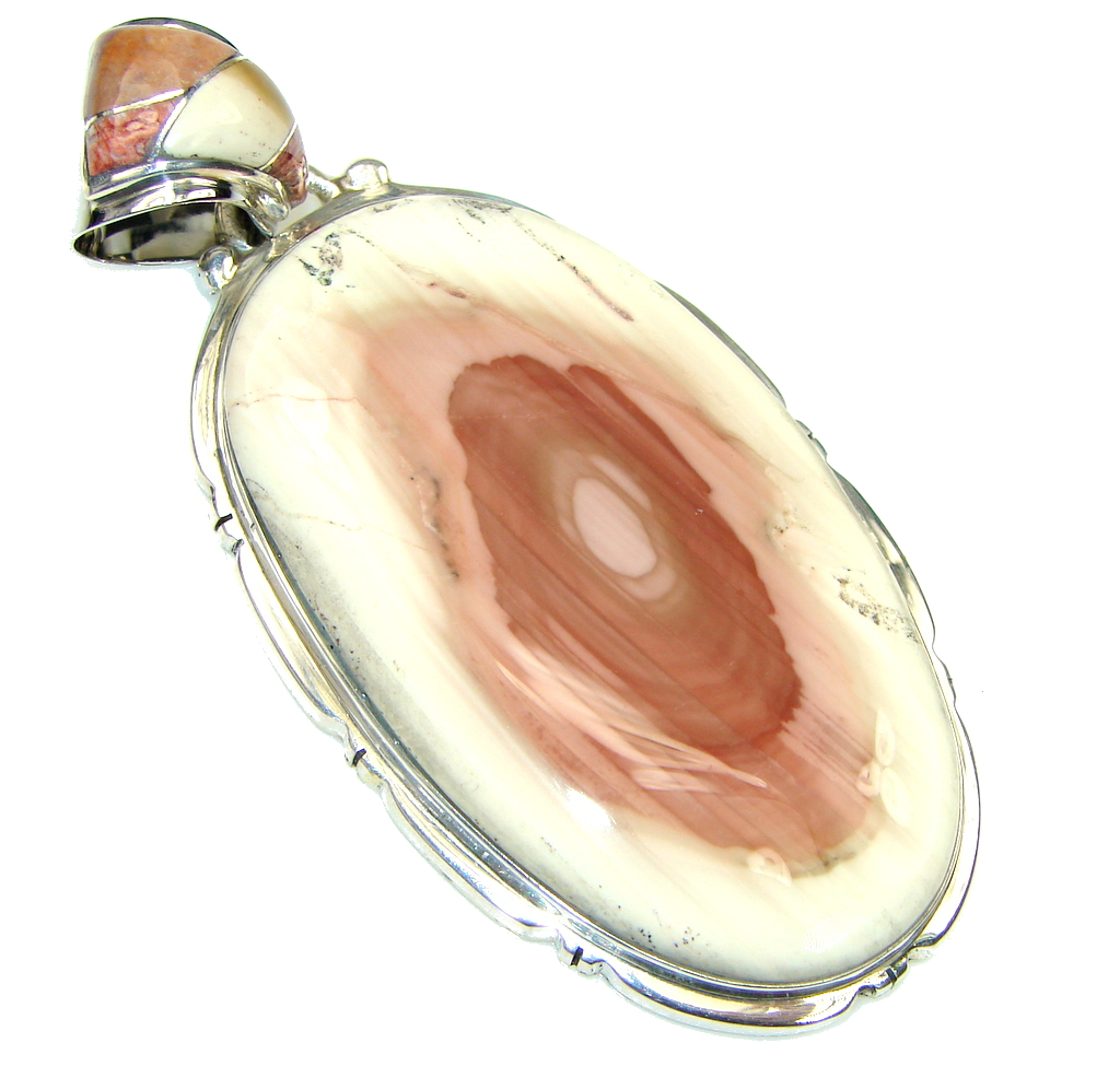 Big! Stunning! AAA + Imperial Jasper Sterling Silver Pendant