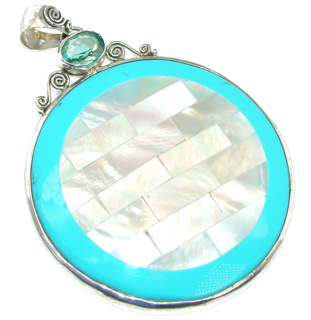 Big! Magic Turquoise Ocean Shell Sterling Silver Pendant