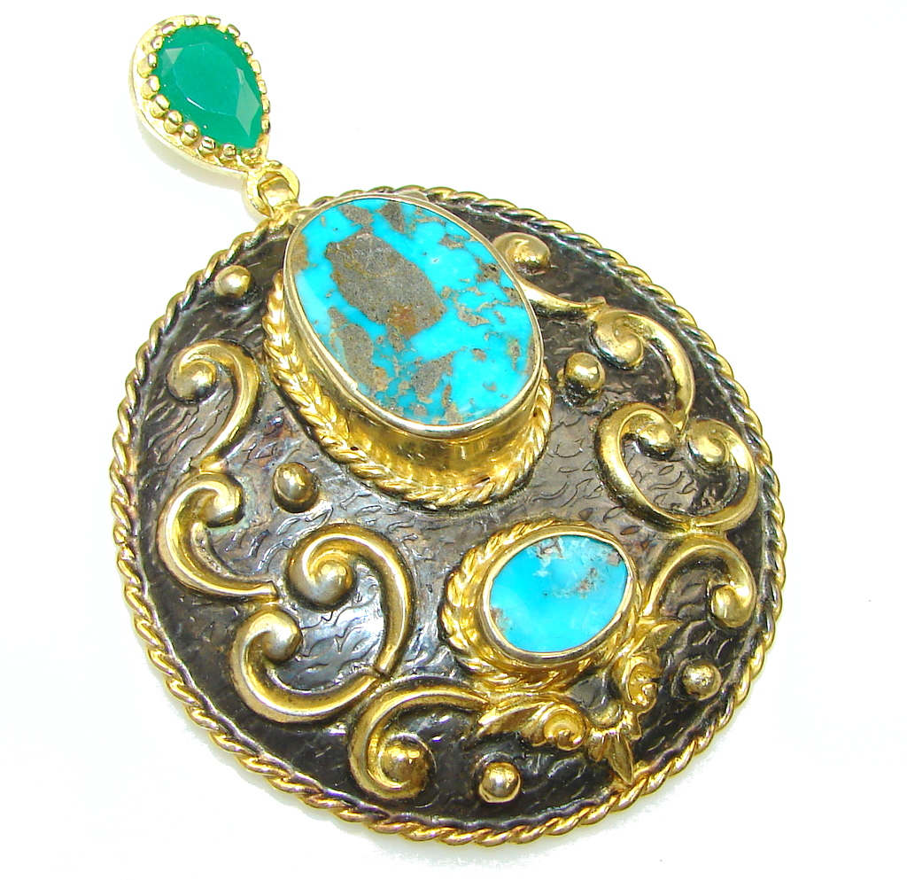 Large! Italy Made! Stunning Blue Turquoise, Gold Plated, Rhodium Plated Sterling Silver Pendant