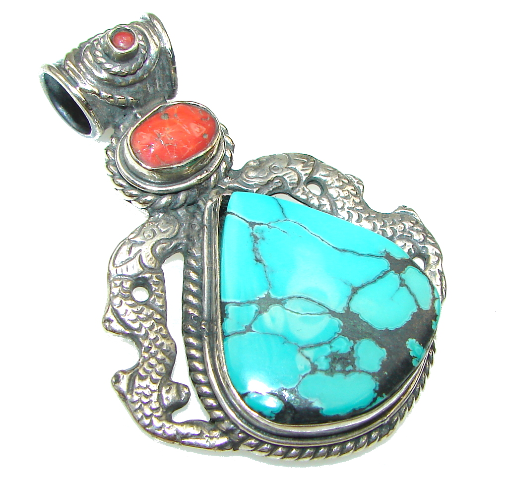 Big! Stylish Design! Blue Turquoise Sterling Silver Pendant