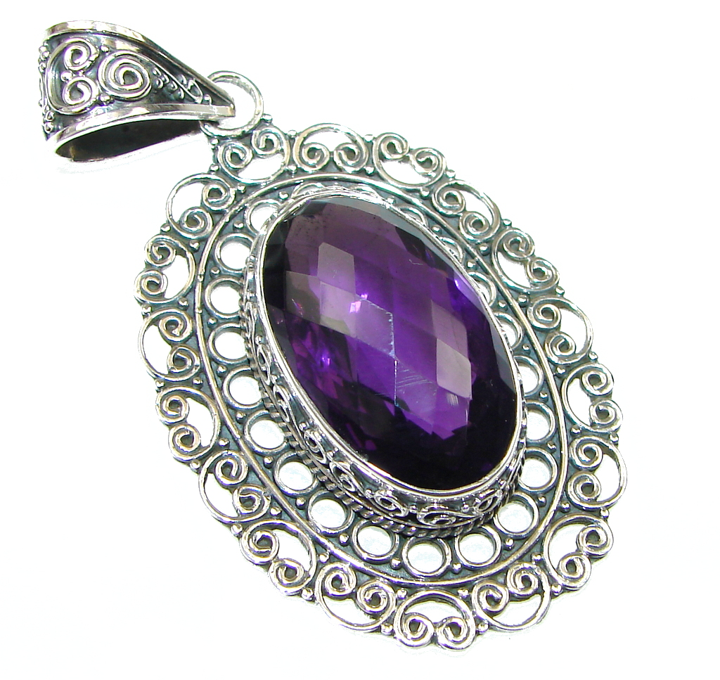 Bali Secret! Purple Amethyst Quartz Sterling Silver Pendant