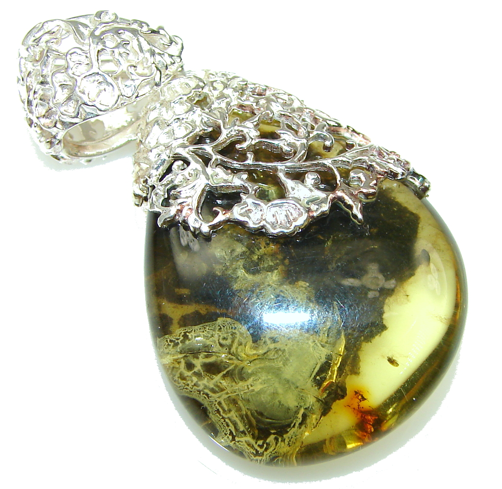 Beautiful! Green Baltic Polish Amber Sterling Silver Pendant