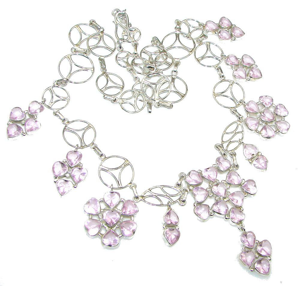 Exclusive! Delicate Pink Topaz Sterling Silver necklace