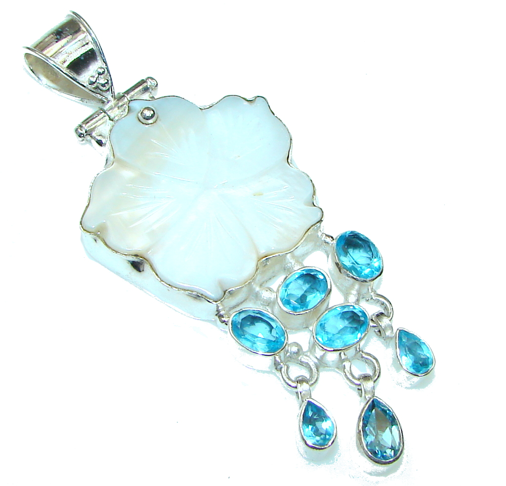 Big! Perfect Flower! Blister Pearl Sterling Silver pendant