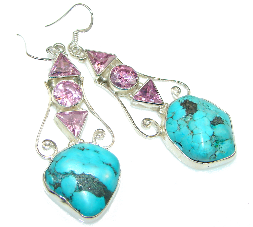 Big! Classic Blue Turquoise Sterling Silver earrings