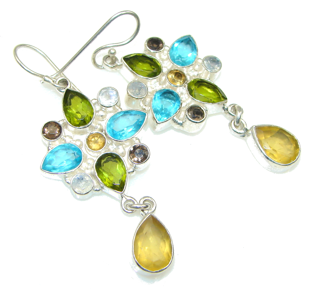 Aura Of Beauty! Yellow Citrine Sterling Silver earrings
