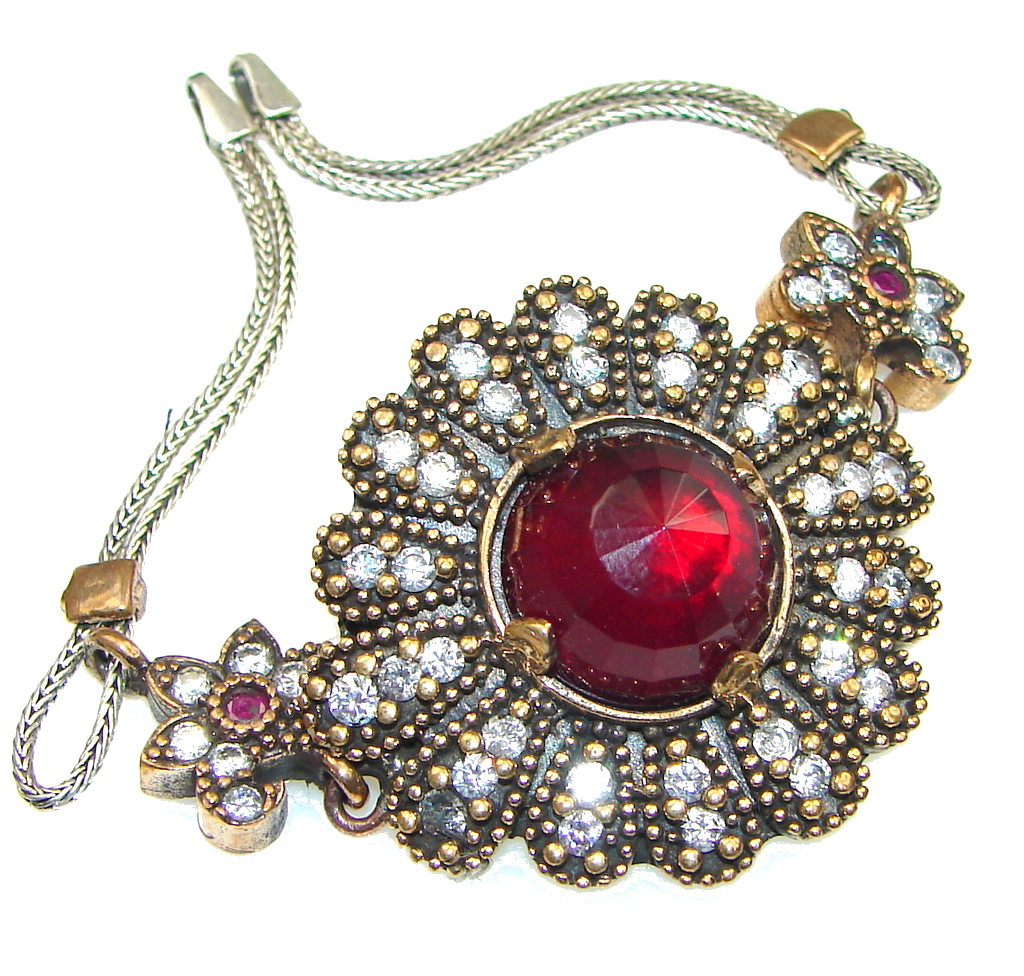 Love Power! Red Garnet Quartz & White Topaz Sterling Silver Bracelet