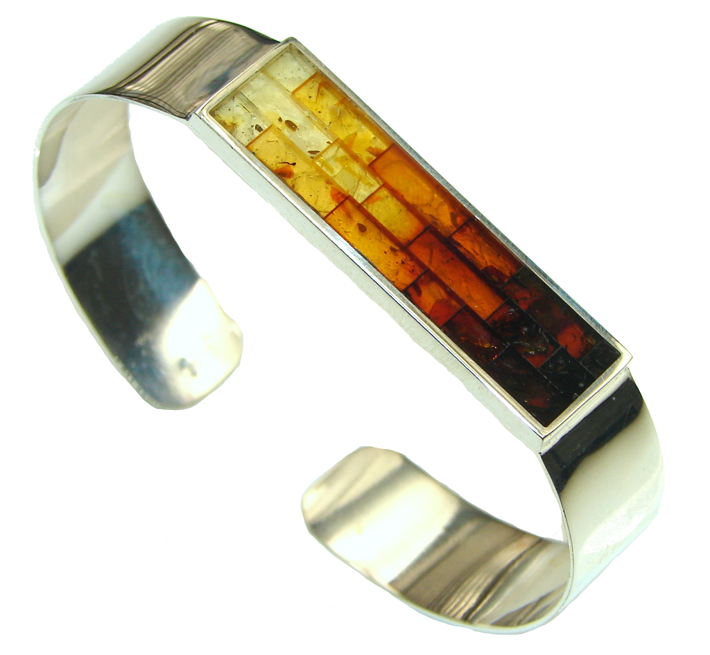 Beautiful!! Genuine Polish Amber Sterling Silver Bracelet / Cuff