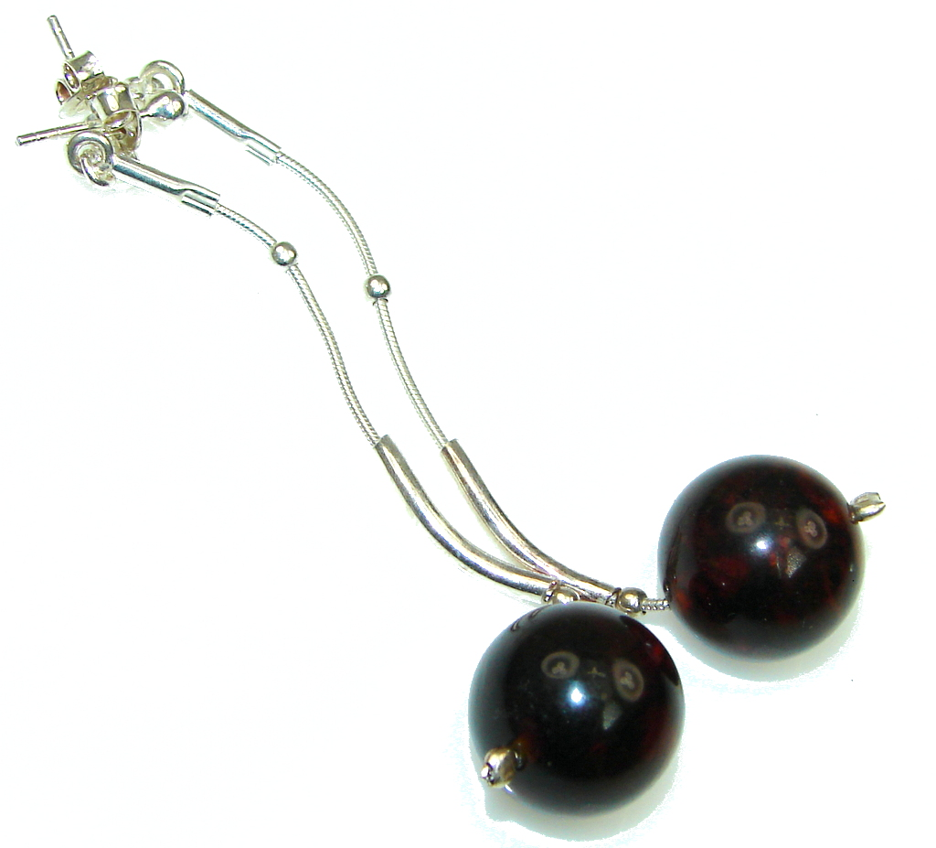 Fashion! Dark Brown Polish Amber Sterling Silver earrings / Long