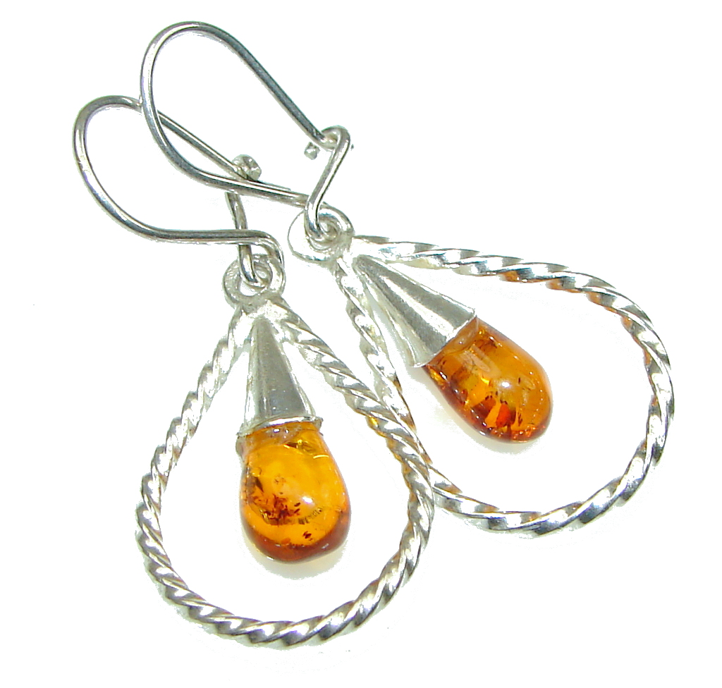 Special Moment! Polish Baltic Amber Sterling Silver earrings