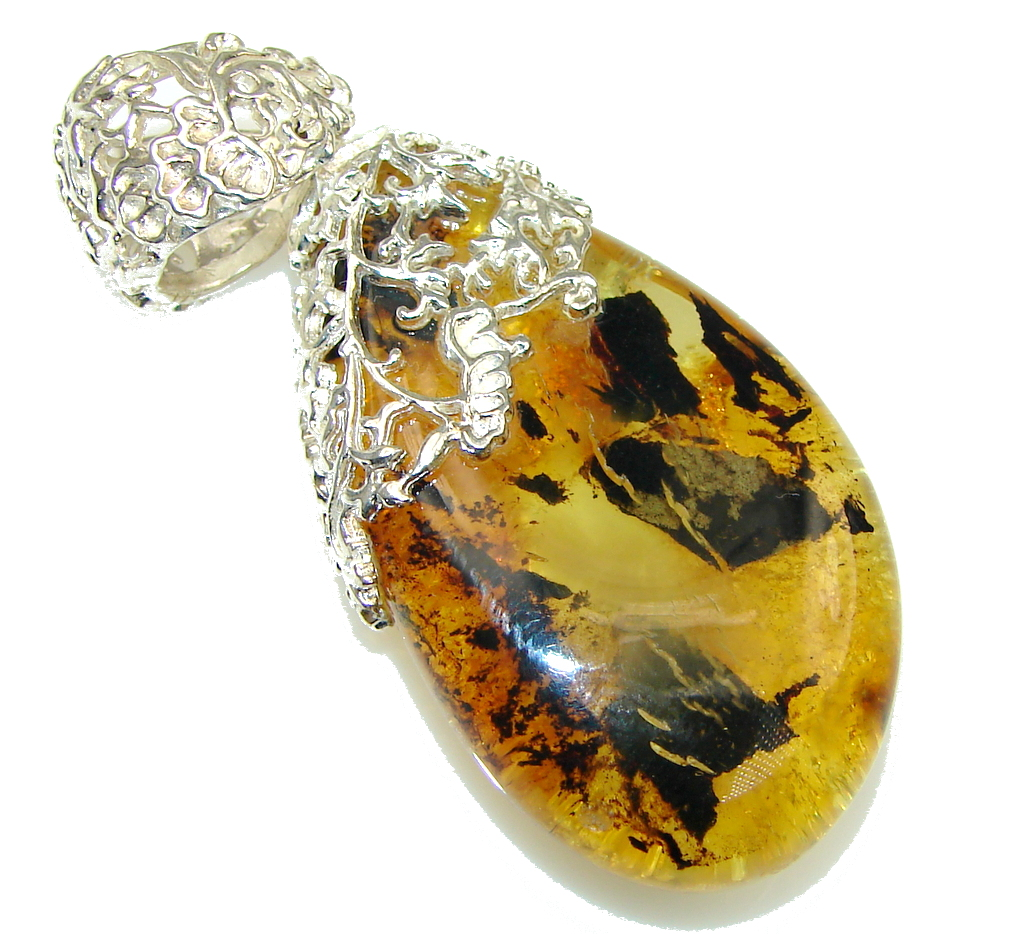 New Fashion! Baltic Polish Amber Sterling Silver Pendant