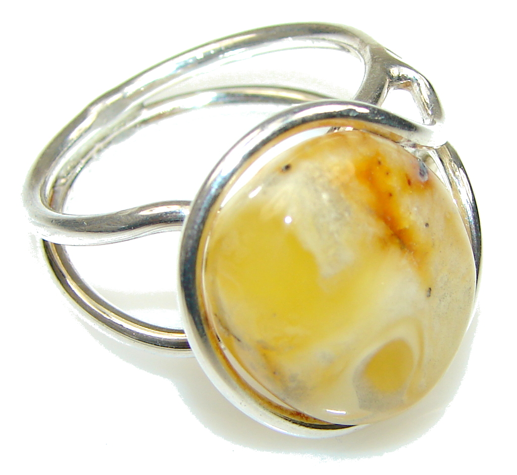 Amazing! Butterscotch Polish Amber Sterling Silver Ring s. 9 - adjustable
