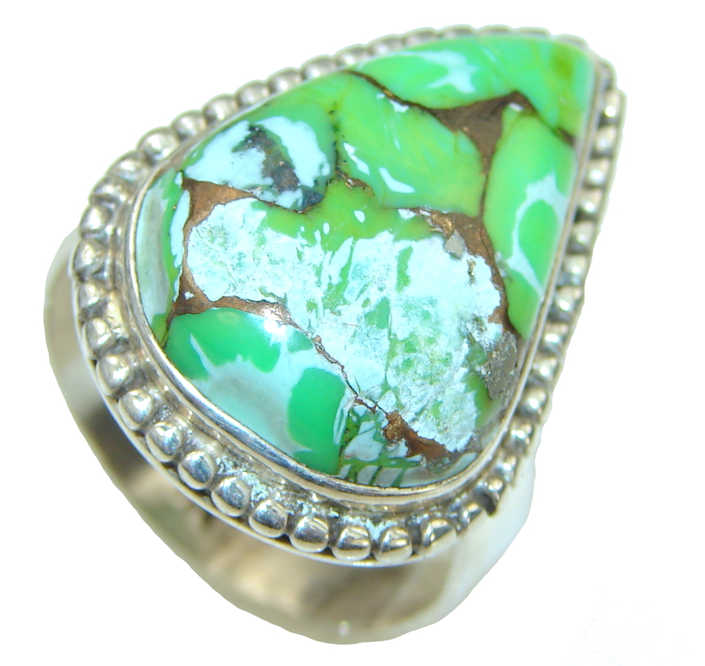 Image of Green Island! Green Copper Turquoise Sterling Silver ring s. 9 1/4