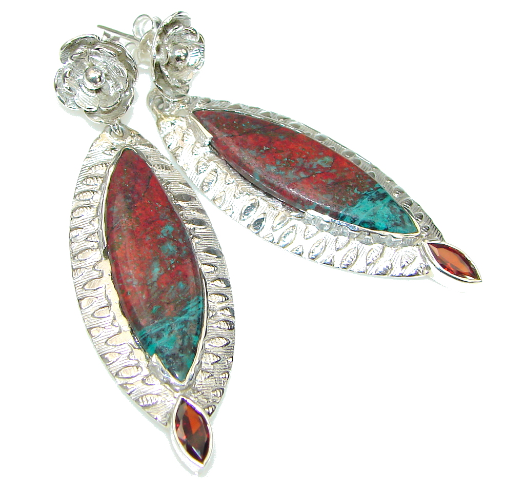 Amazing! Red Sonora Jasper & Garnet Sterling Silver Earrings / Long