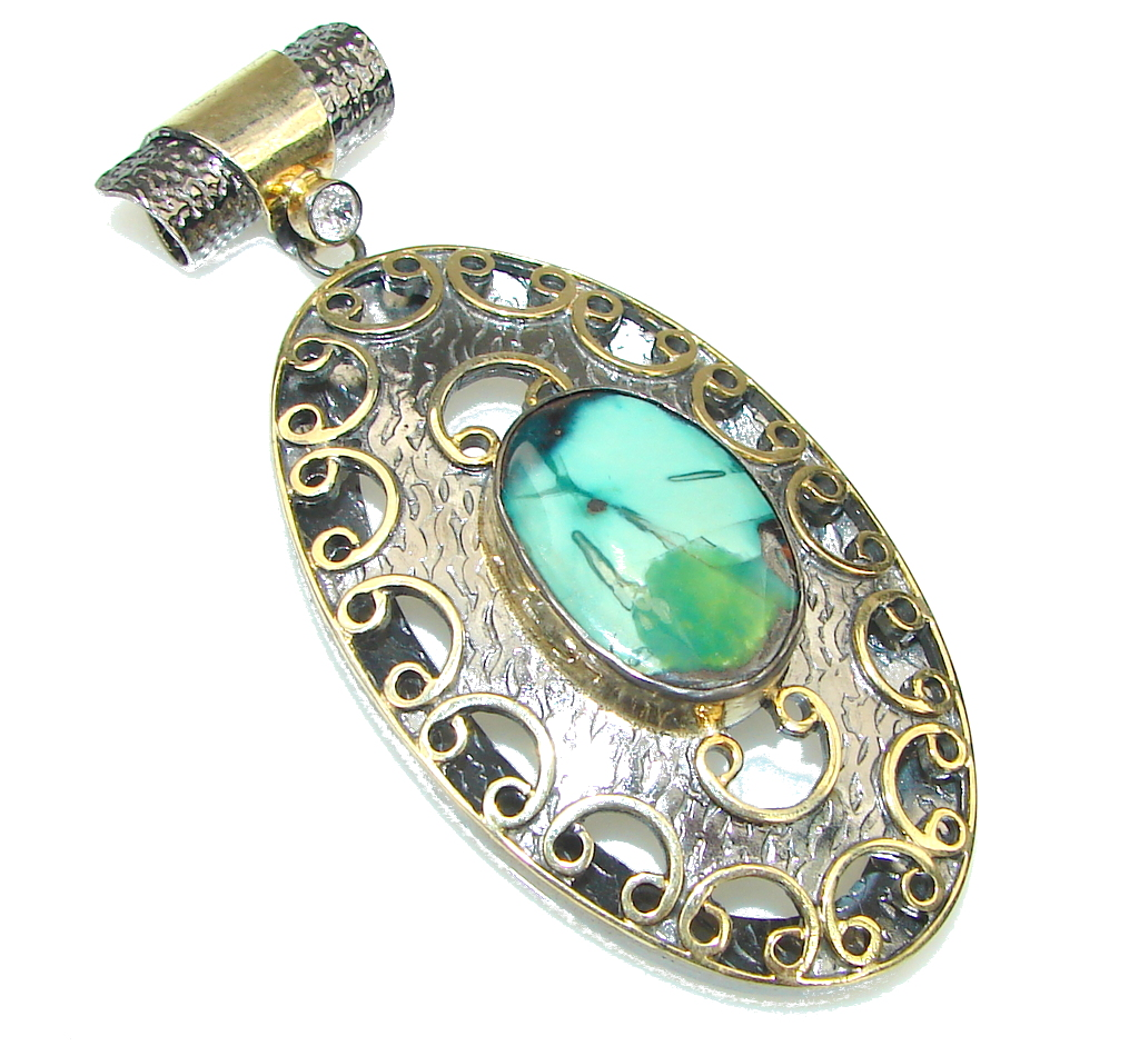 Big! Italy Made! Corrico Lake Green Turquoise, Gold Plated, Rhodium Plated Sterling Silver Pendant