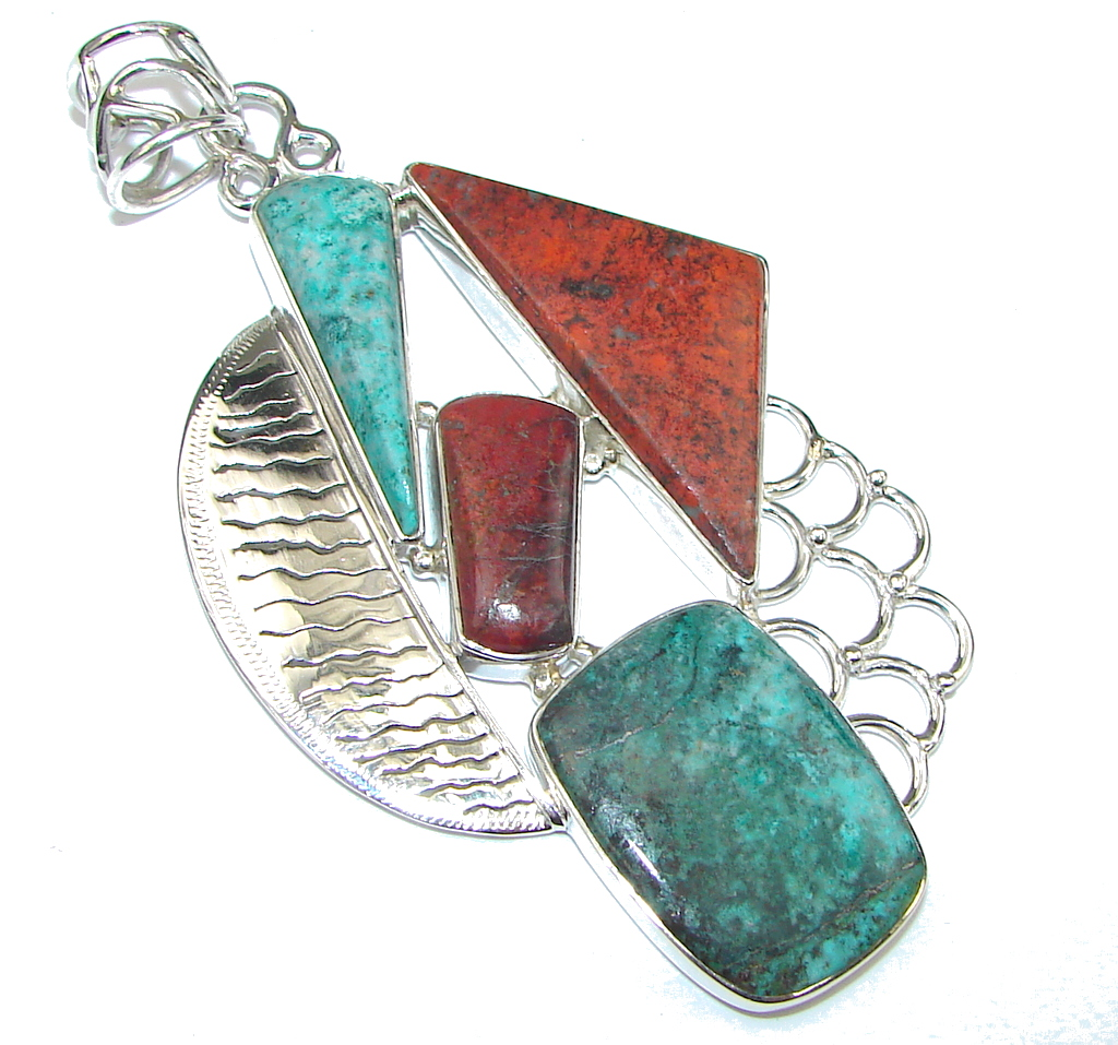 Big! Natural Red Sonora Jasper Sterling Silver Pendant