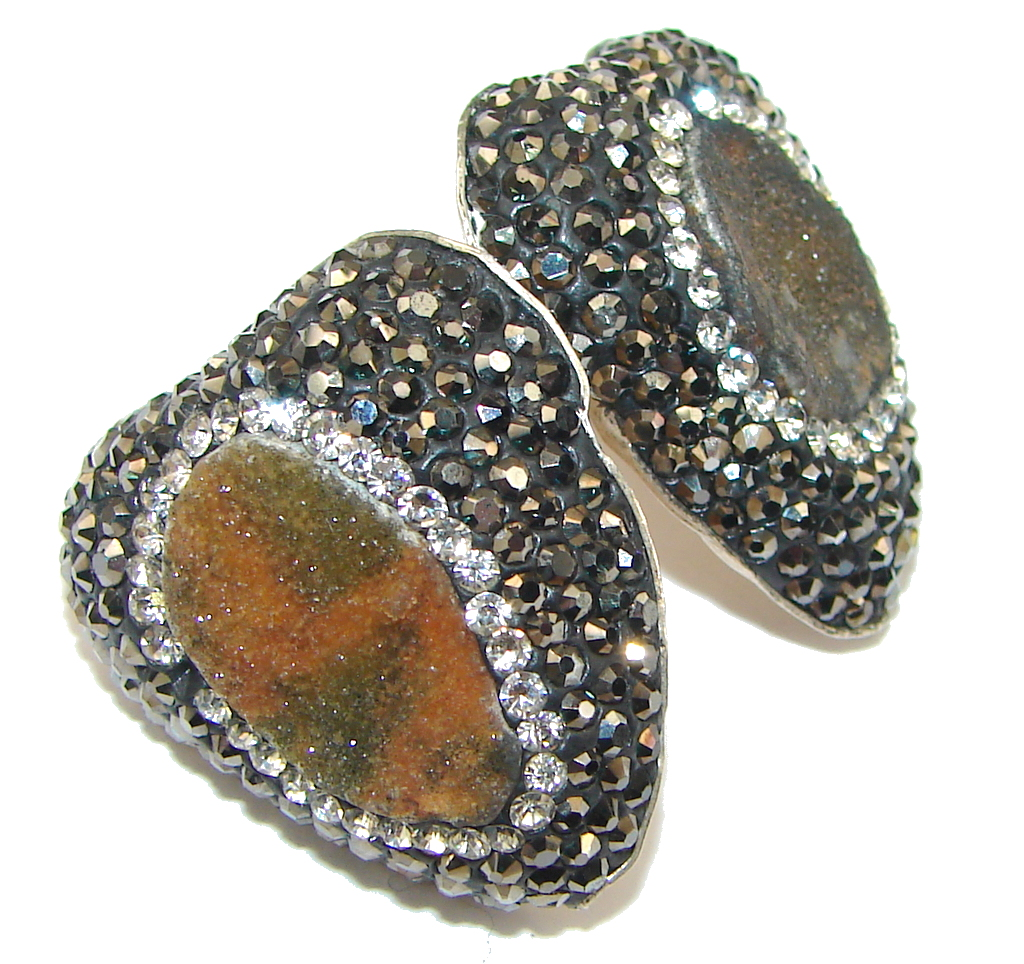 Turkish Style! Brown Druzy & White Topaz