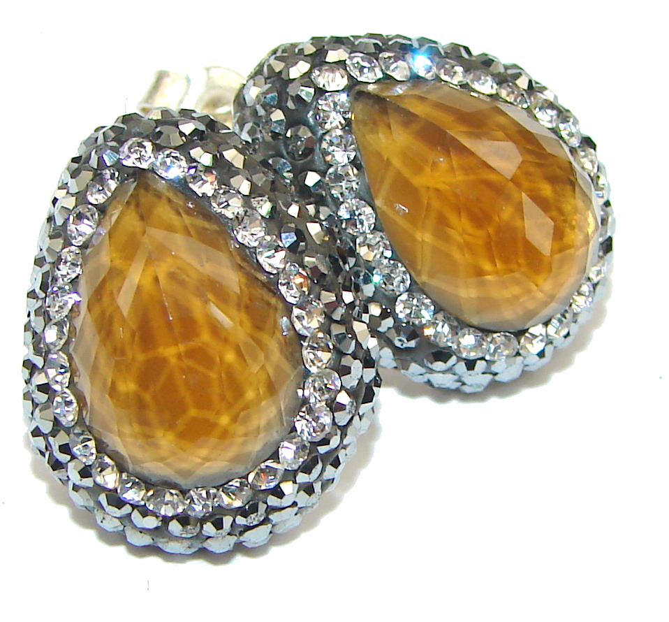 Stunning! Created Yellow Sapphire & White Topaz Sterling Silver earrings