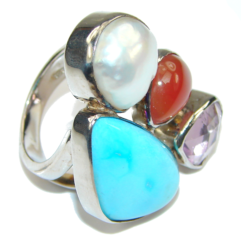 Sleeping Beauty! Blue Turquoise Sterling Silver ring s. 6 1/4