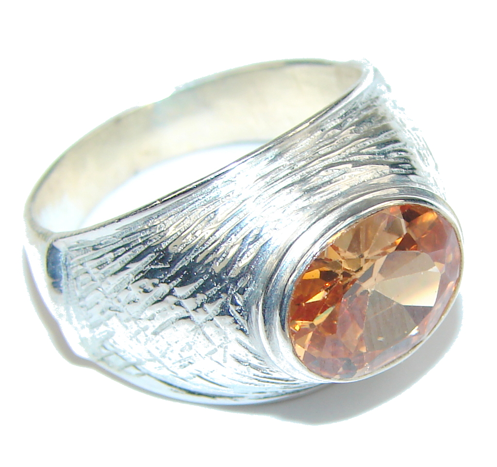 Amazing! Golden Topaz Quartz Sterling Silver Ring s. 9
