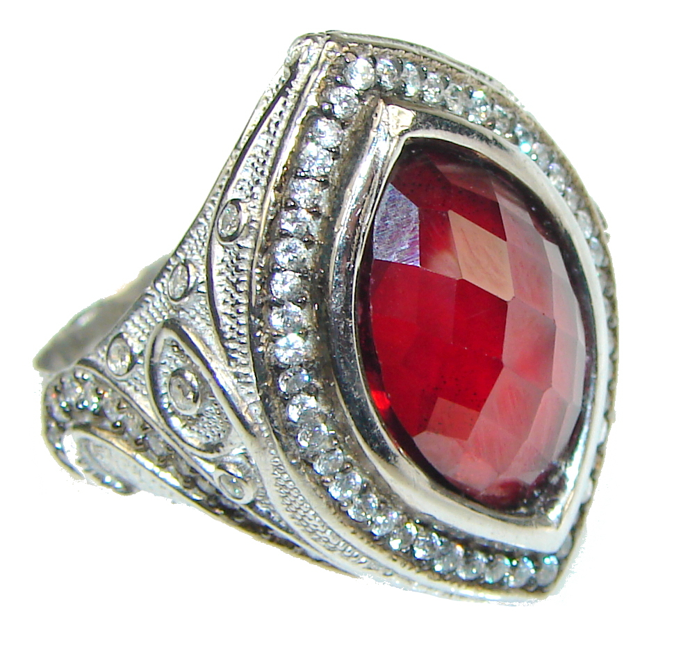 Love Power!! Red Vine Garnet  Sterling Silver Ring s. 9