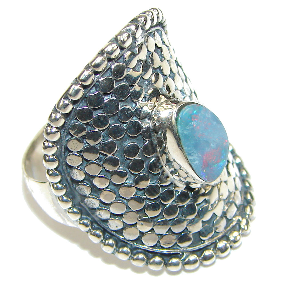 Image of Delicate! Japanese Blue Fire Opal Sterling Silver ring s. 9 1/2