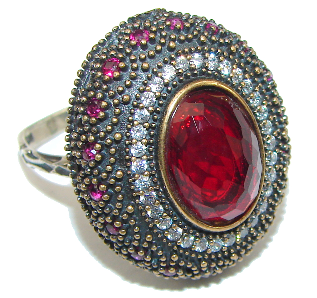 Victorian Style! Red Garnet Quartz Sterling Silver