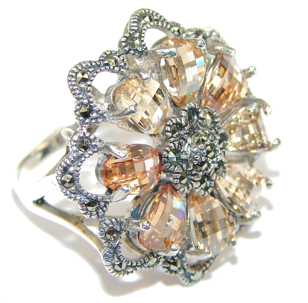 marcassite.com view the photo of  Heavenly Love! Golden Topaz Quartz & Marcasite Sterling Silver Ring s. 8