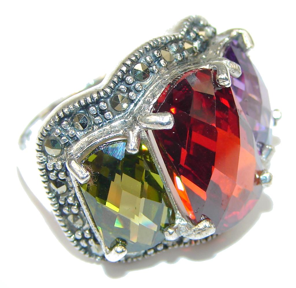 marcassite.com Pale Beauty! Multigem & Marcasite Sterling Silver Ring s. 7 1/2