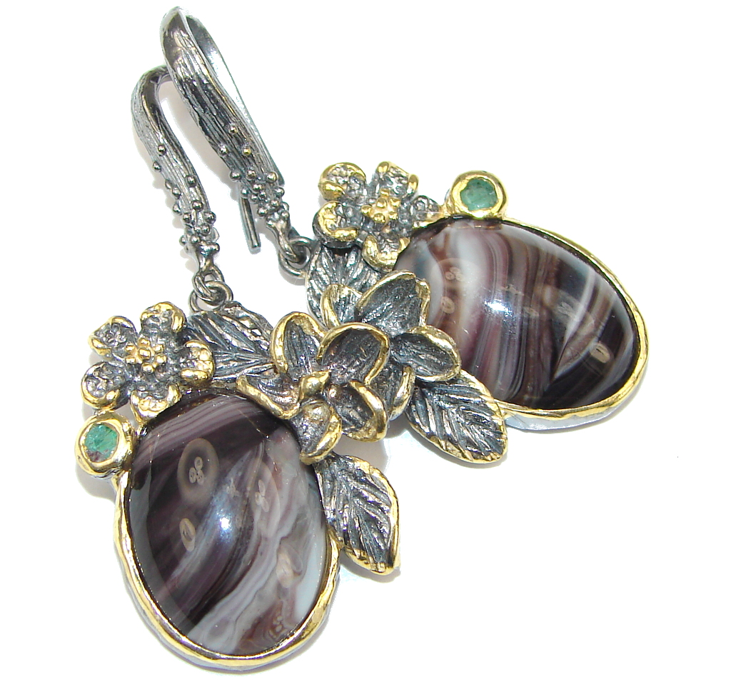 Exclusive Design! Agate & Emerald, Gold Plated, Rhodium Plated Sterling Silver earrings