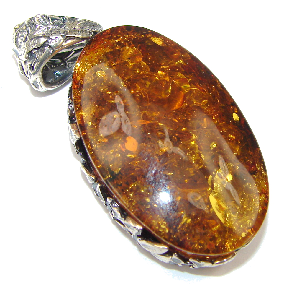 Genuine! Baltic Polish Amber Sterling Silver Pendant