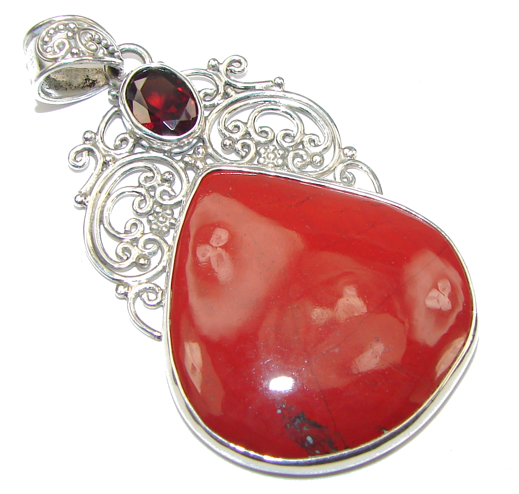 Bali Secret! Red Jasper Sterling Silver Pendant