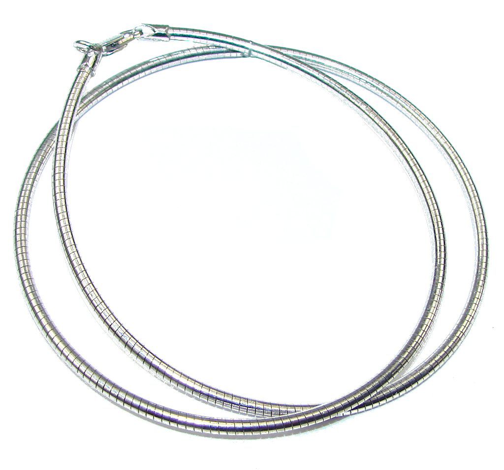 """Round Omega Rhodium Plated Sterling Silver Chain 16"""" long, 2 mm wide 95054"""