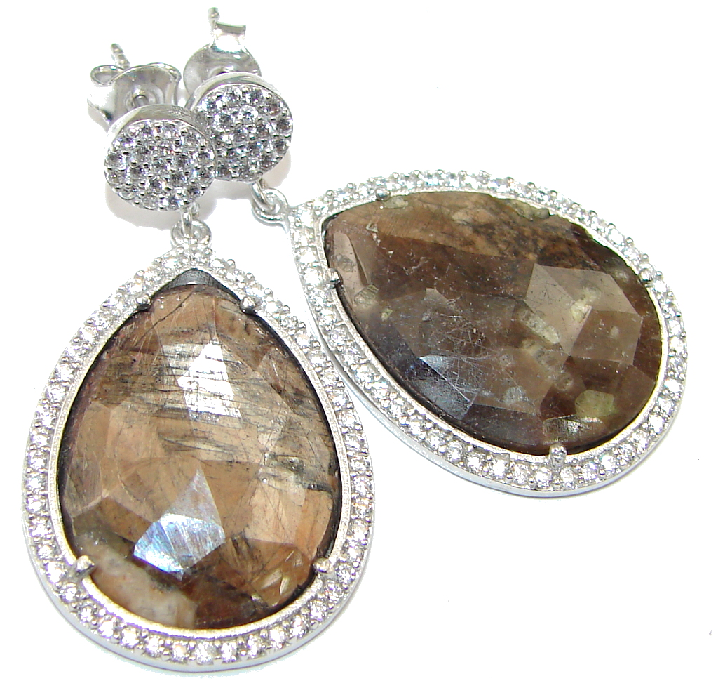 Exclusive! Chocolate Sapphire & White Topaz Sterling Silver earrings