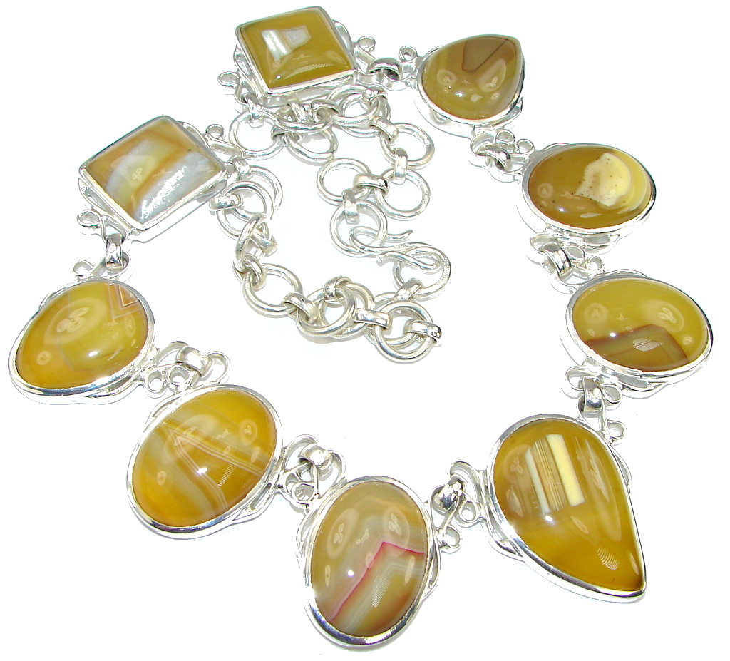 Big! SunShine! Yellow Botswana Agate Sterling Silver necklace