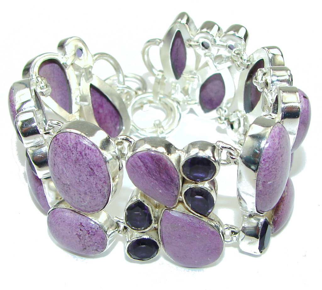 Lavender Secret! Purple Sugalite & Amethyst Sterling Silver Bracelet