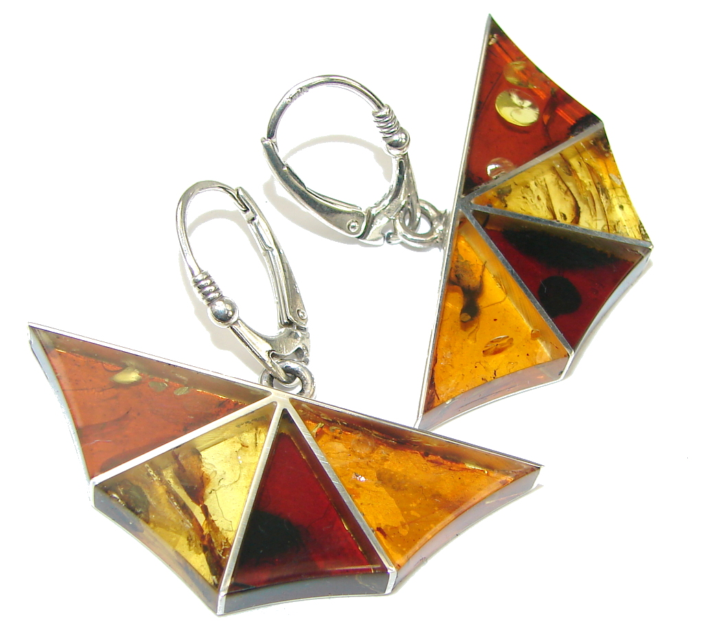 Amazing Design! Polish Baltic Amber Sterling Silver earrings