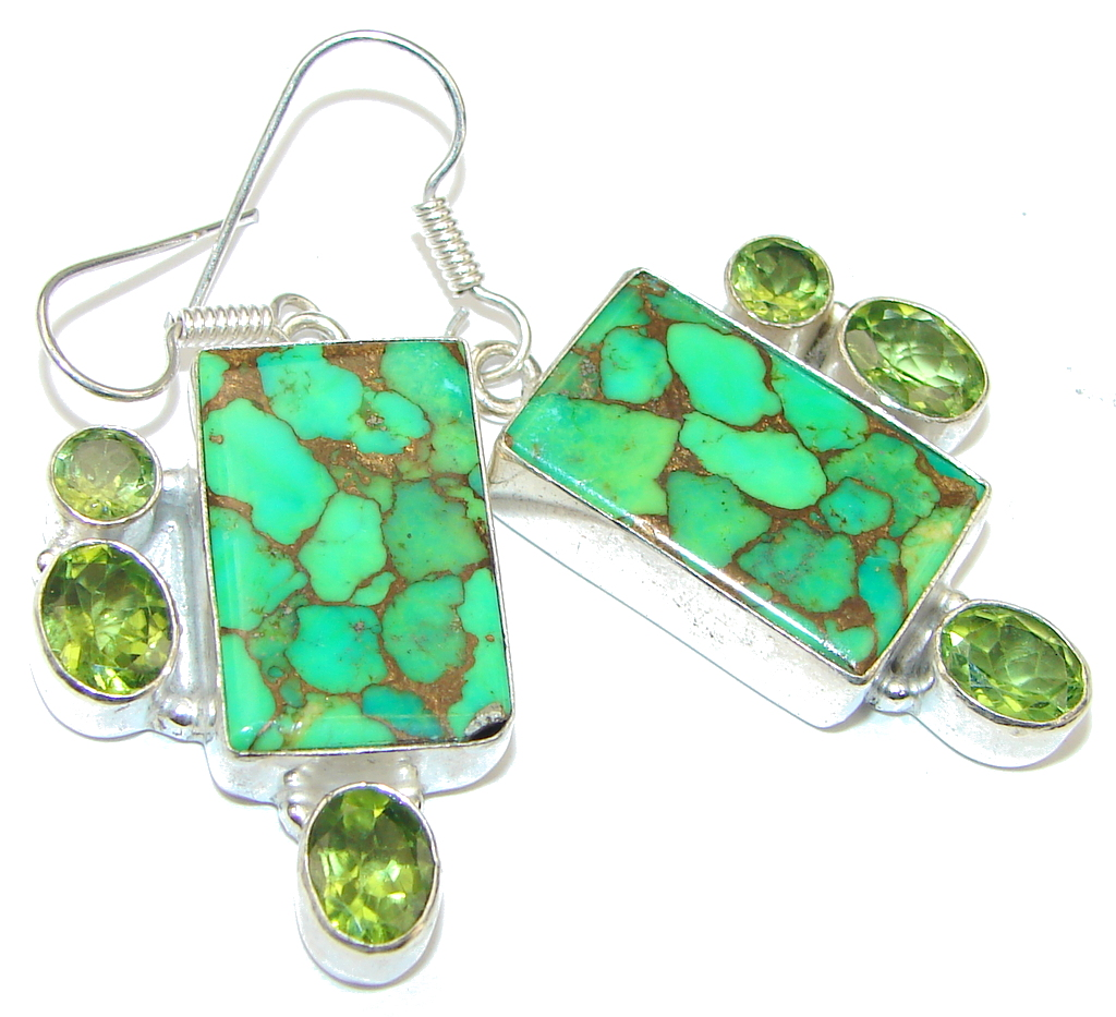 Awesome! Green Copper Turquoise Sterling Silver earrings
