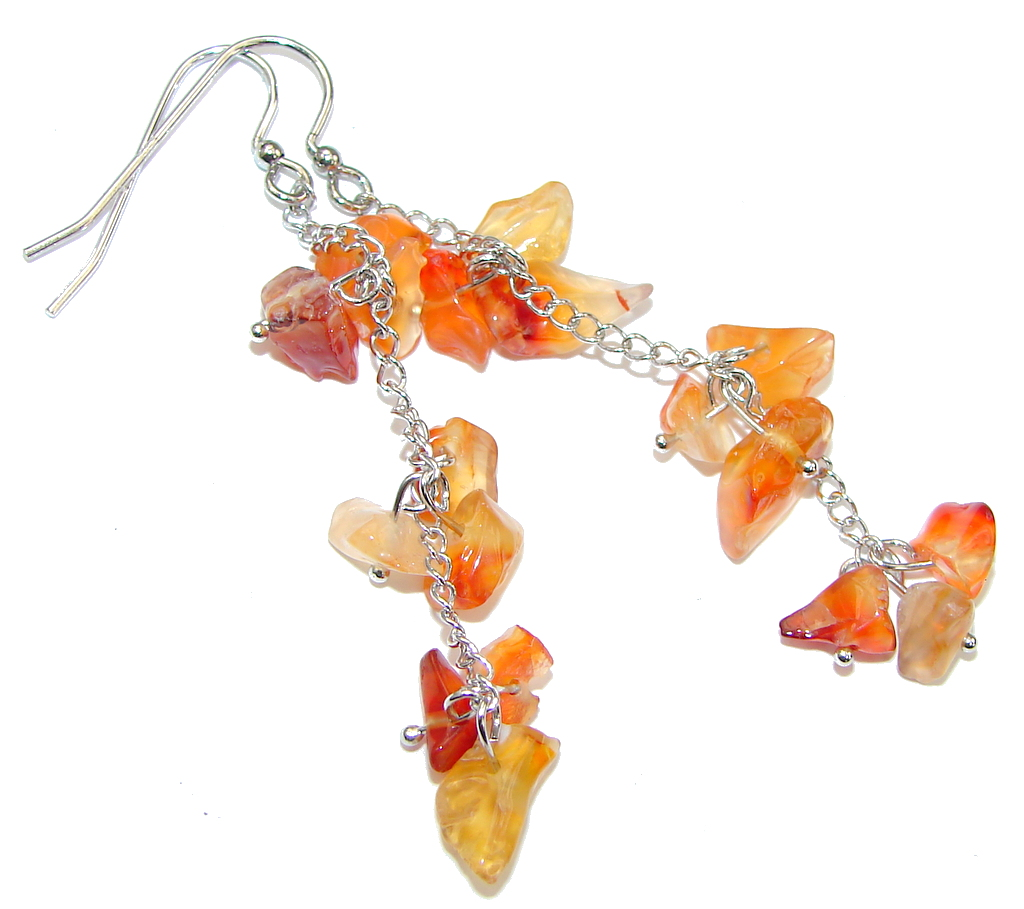 Summer! Orange Carnelian & Citrine Sterling Silver earrings