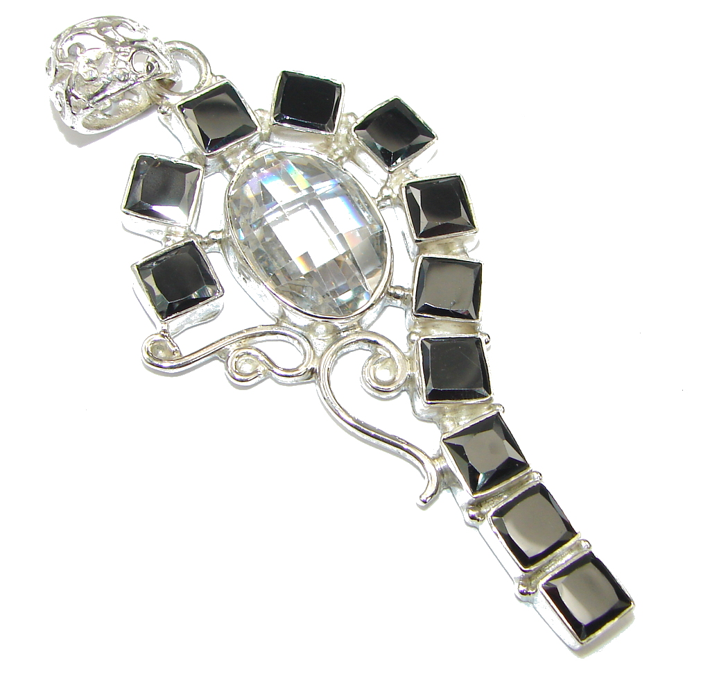 Big! Pale Beauty! White Topaz & Hematite Sterling Silver Pendant