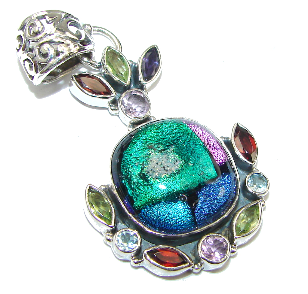 Excellent! Mexican Dichroid Glass Sterling Silver pendant