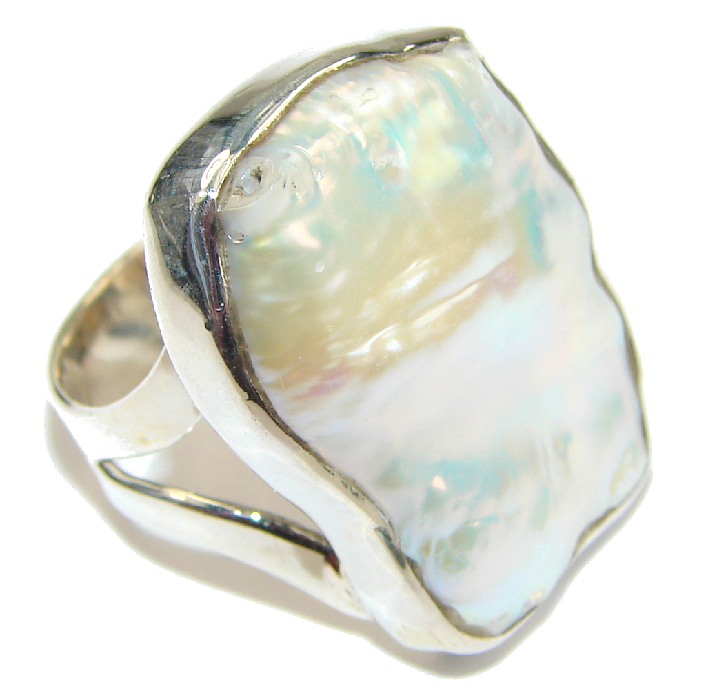 Fashion Silver Mother Of Pearl Streling Silver Ring s. 8 1/4