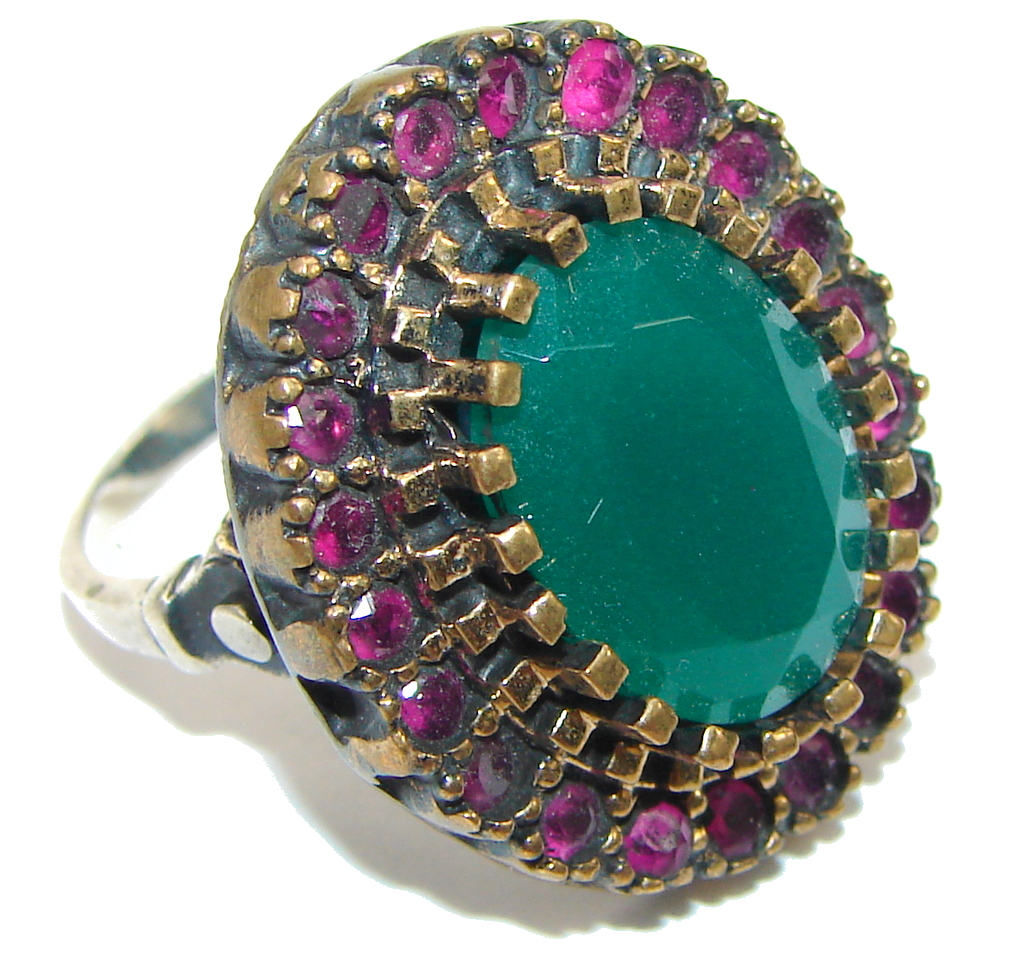 Victorian Style! Green Emerald & Ruby Sterling Silver Ring