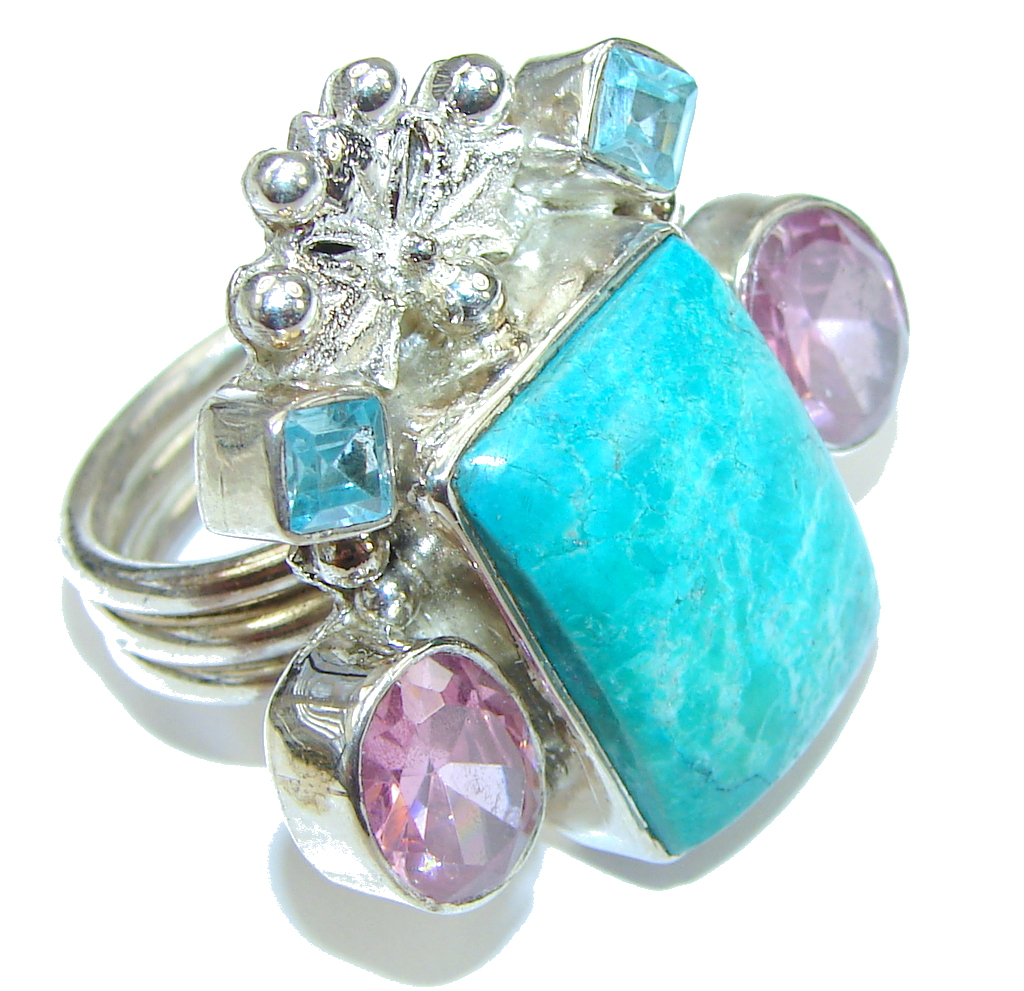 Aura Of Beauty! Blue Amazonite Sterling Silver ring s. 8